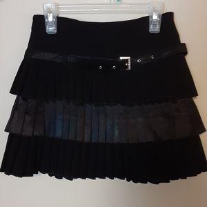 New Womens Black Mini Layered Ruffle Skirt
